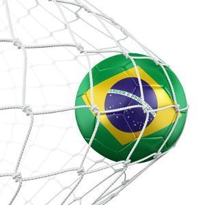 3D Rendering Of A Brazilian Soccer Ball In A Net by zentilia
