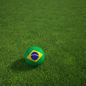 3D Rendering Of A Brazilian Soccerball Lying On Grass by zentilia