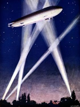 Zeppelin Airship Caught in Searchlights During a Bombing Raid over England, 1916