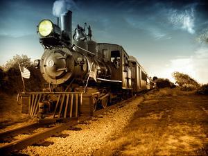 Vintage Steam Engine Train by Zero Minus One