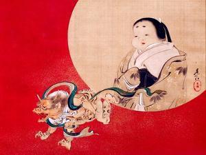 Otafuku and Demon by Zeshin Shibata