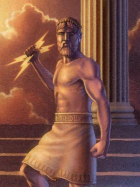 Zeus Holding Lightning Bolts