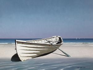 White Boat on Beach by Zhen-Huan Lu