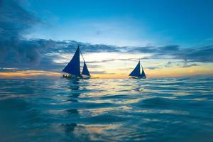 Sailing Boat at Sunset, Sea by Zhencong Chen