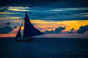 Sailing Boat at Sunset, Sea by Zhencong Chen