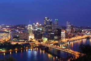 Pittsburgh's Skyline from Mount Washington at Night by Zigi
