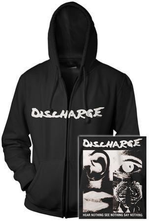 Zip Hoodie: Discharge - Hear Nothing (Front/Back)