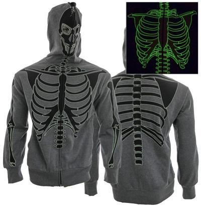 Zip Hoodie: Glow in The Dark Skeleton Costume Top (Front/Back)