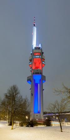 Zizkov Television Tower at night, Prague, Bohemia, Czech Republic