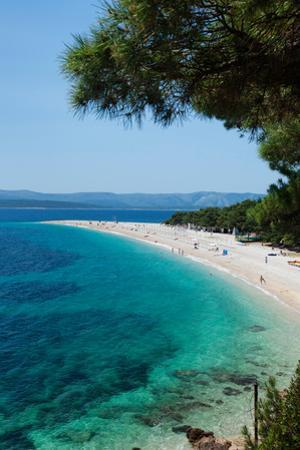 Zlatni Rat Beach with Hvar Island in the Background, Bol, Brac Island, Dalmatia, Croatia
