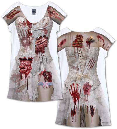 Zombie Bride Dress Costume Tee (Front/Back)