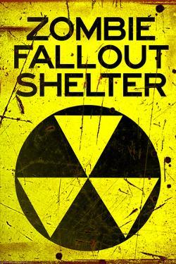 Zombie Fallout Shelter Sign Black Triangle Poster Print