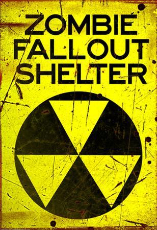 Zombie Fallout Shelter Sign Black Triangle Poster