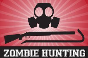 Zombie Hunting Gas Mask Crowbar Shotgun Sports Plastic Sign