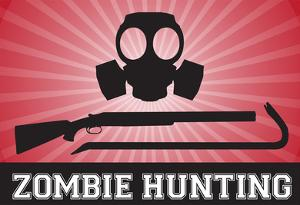 Zombie Hunting Gas Mask Crowbar Shotgun Sports Poster Print