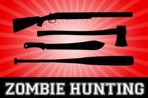 Zombie Hunting Red Sports Plastic Sign