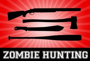 Zombie Hunting Red Sports Poster Print
