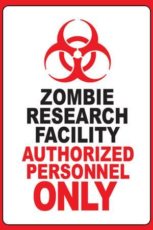 Zombie Research Facility Sign Plastic Sign