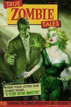 Zombie Tales Pulp by Retro-A-Go-Go Plastic Sign
