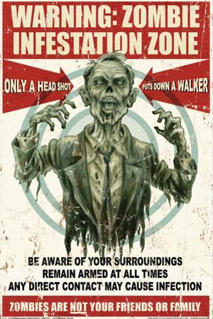 Zombie Warning Sign by Retro-A-Go-Go Plastic Sign