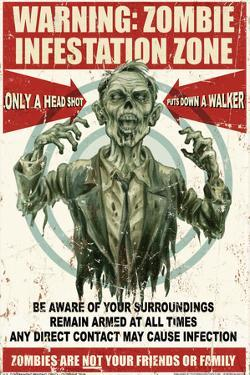 Zombie Warning Sign by Retro-A-Go-Go Poster
