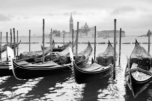 Gondolas near Saint Mark Square in Venice, Italy. Black and White Image. by Zoom-zoom