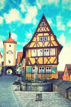 Old Street in Rothenburg Ob Der Tauber, Bavaria, Germany. Instagram Style Filter by Zoom-zoom