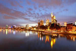 Panorama of Frankfurt Am Mine at Night, Germany by Zoom-zoom