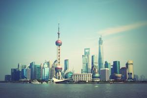 Panoramic View of Shanghai Skyline, China. Retro Style Image by Zoom-zoom