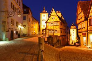 Rothenburg Ob Der Tauber at Night, Bavaria, Germany by Zoom-zoom