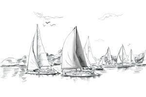 Sailing Yachts and Boat Illustration by ZoomTeam