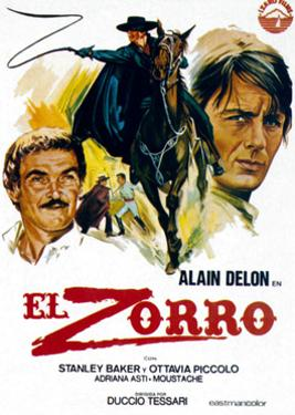 Zorro, (AKA El Zorro), Right: Alain Delon on Spanish Poster Art, 1975.