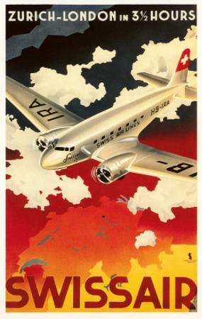 Zurich London Travel Poster