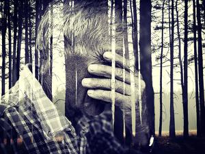 Double Exposure of Desperate Senior Man Suffering and Covering Face with Hands in Deep Depression, by zurijeta