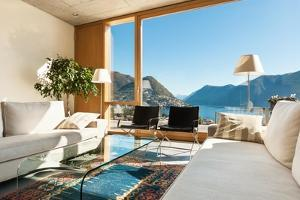 Beautiful Modern House in Cement, Interiors, View from the Living Room by zveiger