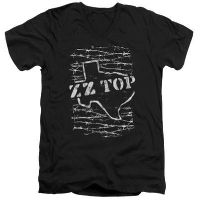ZZ Top- Distressed Barbed Texas V-Neck