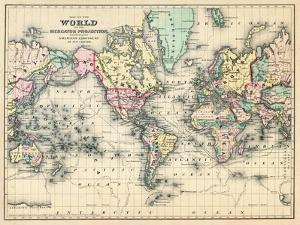 World maps posters and prints at art 1876 world map of the world 1876 gumiabroncs Choice Image