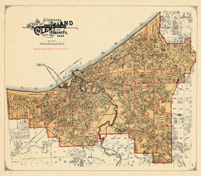 Maps Of Ohio Posters And Prints At Artcom - Cleveland ohio on us map