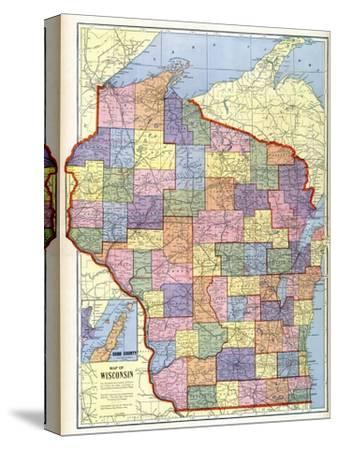 Maps Of Wisconsin Canvas Posters And Prints At Artcom - Us map wisconsin state