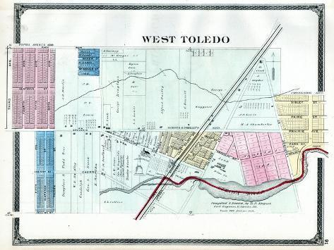 1875, Toledo - West, Ohio, United States Reproduction procédé giclée