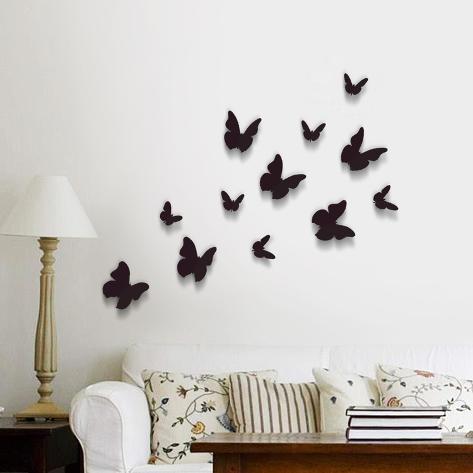 3D Butterflies - Black Autocollant mural