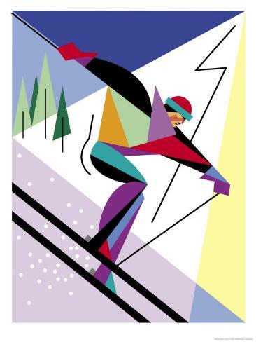 A Downhill Skier Reproduction d'art