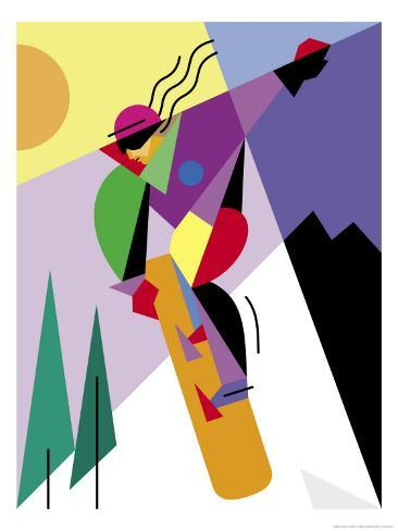 A Snowboarder Jumping Reproduction d'art