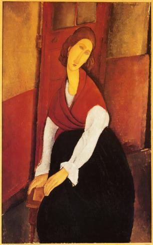 Jeanne Hebuterne en châle rouge Reproduction d'art