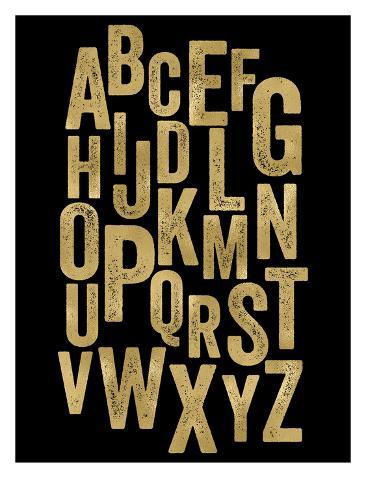 Alphabet Golden Black Reproduction d'art