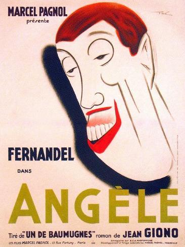 Angele, French poster art, Fernandel, 1934 Reproduction d'art