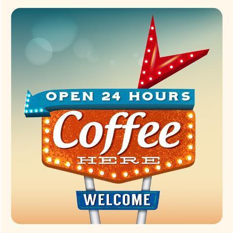Retro Neon Sign Coffee Affiches par anna42f sur AllPosters #2: anna42f retro neon sign coffee a G