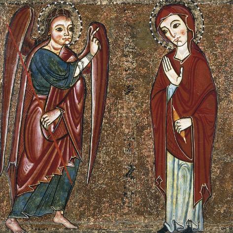 Annunciation, 13th Century Altar from the Monastery of Santa Maria of Lluca Reproduction procédé giclée