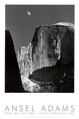Lune sur Half Dome, parc national de Yosemite, 1960 Reproduction d'art