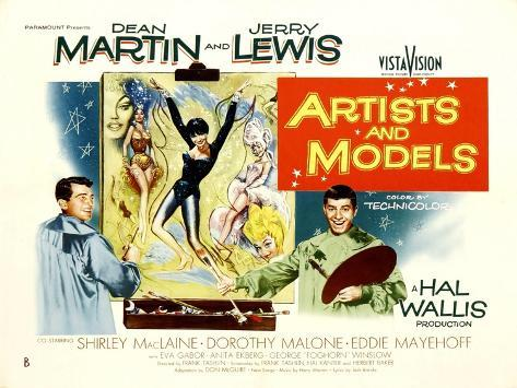 Artists and Models, UK Movie Poster, 1955 Reproduction d'art